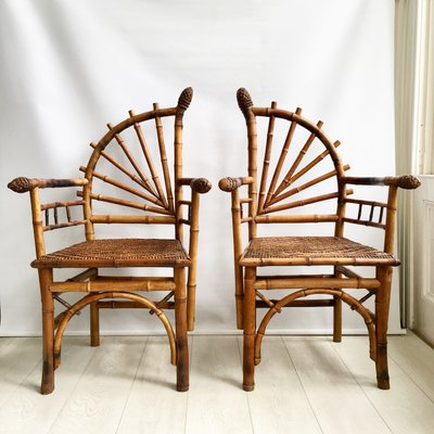 Vintage French Bamboo Chairs 1920s Set Of 2 For Sale At Pamono