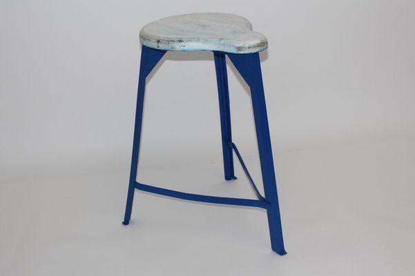 Strange Mid Century Industrial White And Blue Stool 1950S Inzonedesignstudio Interior Chair Design Inzonedesignstudiocom
