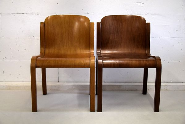 Italian Mid Century Mito Curved Plywood Chairs By Carlo Bartoli For T70 1969