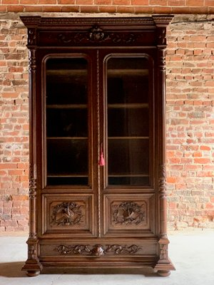 Antique French Carved Oak Display Cabinet, 1890s 1