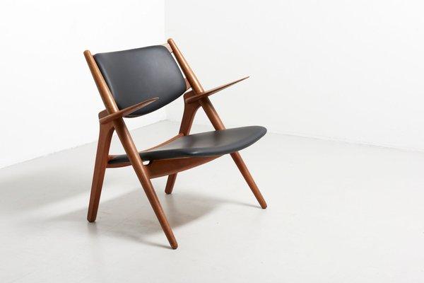 Strange Ch28 Sawbuck Oak Black Leather Easy Chair By Hans J Wegner For Carl Hansen Son 1950S Inzonedesignstudio Interior Chair Design Inzonedesignstudiocom