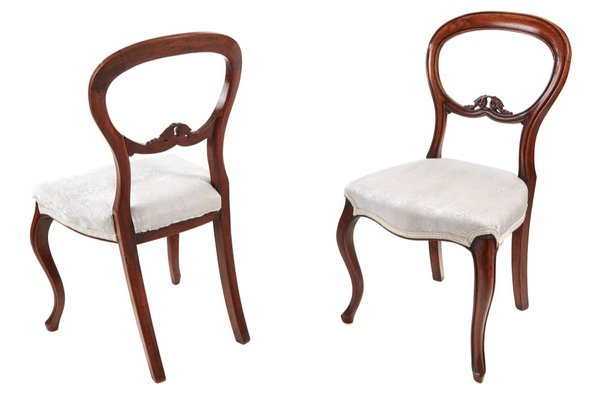 Victorian Balloon Back Chairs, 1860s, Set Of 2 1