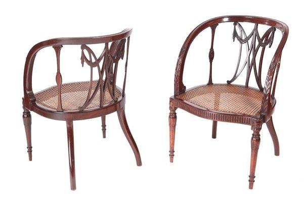 Antique Mahogany Hepplewhite Style Library Chairs, 1880, Set of 2 1 - Antique Mahogany Hepplewhite Style Library Chairs, 1880, Set Of 2