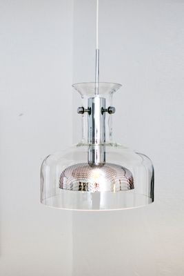 Vintage Glass Chrome Pendant Lamp 1972 For Sale At Pamono