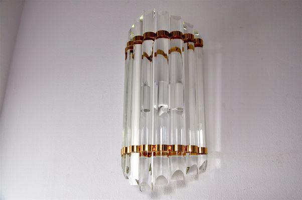 Applique da parete vintage a mezzaluna in vetro di murano di mazzega