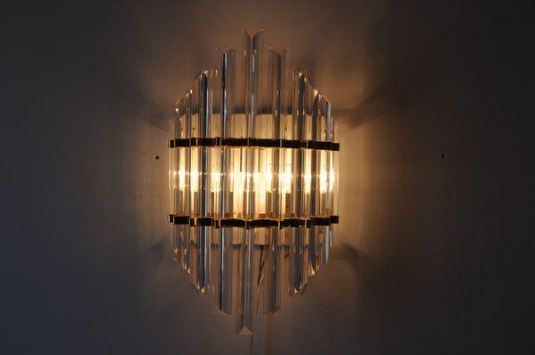 Applique vintage dorata in vetro di murano di paolo venini per