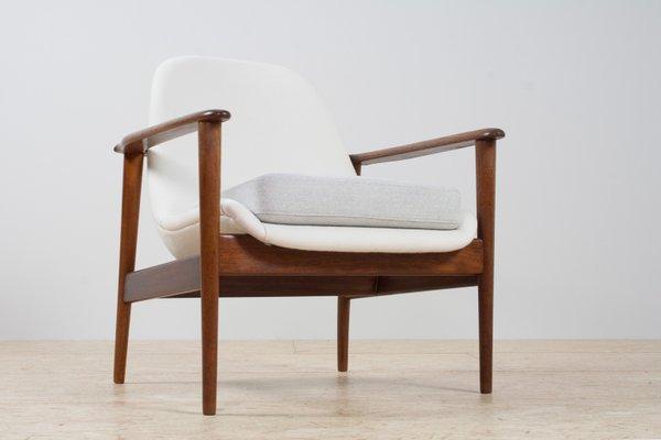 Groovy Scandinavian Modern Teak White Grey Fabric Lounge Chair From Ope 1960S Theyellowbook Wood Chair Design Ideas Theyellowbookinfo