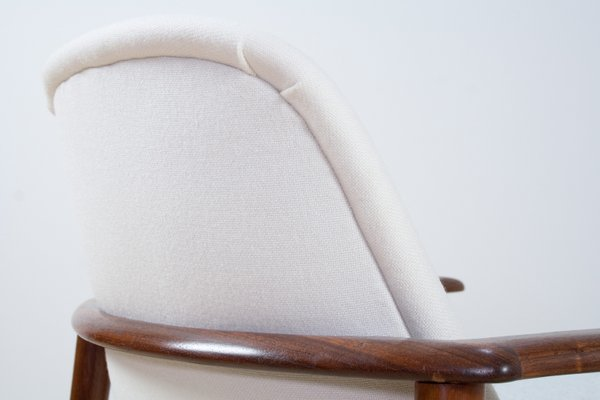 Strange Scandinavian Modern Teak White Grey Fabric Lounge Chair From Ope 1960S Ibusinesslaw Wood Chair Design Ideas Ibusinesslaworg