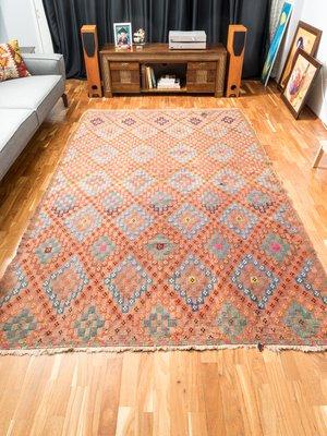Mid Century Turkish Wool Kilim Rug