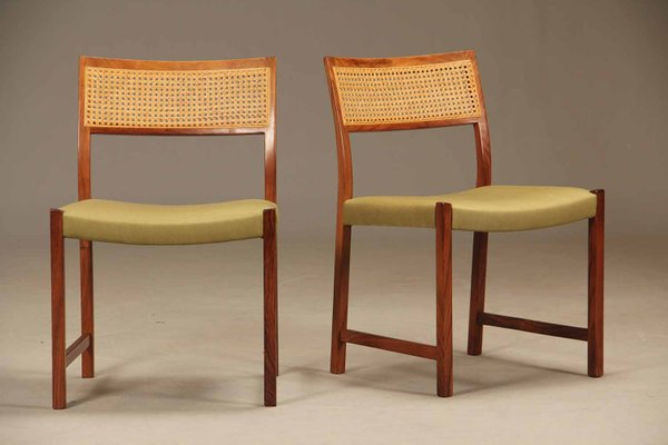 Vintage Rosewood Rattan Dining Chairs 1950s Set Of 4 1