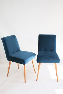 vintage blue marine velvet chairs 1970s set of 2 for sale at pamono