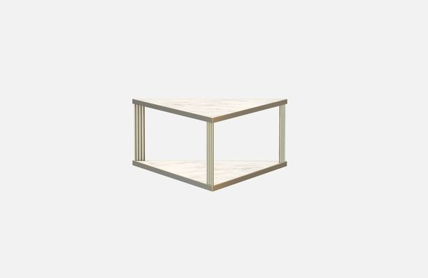 Large Br Plated Trecento Coffee Table With White Marble Top By Alex Baser For Miist