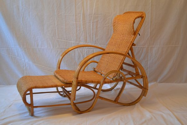 Rattan Lounge Chair U0026 Ottoman, 1960s