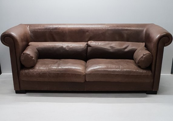 Industrial Brown Leather 3-Seater Sofa in Style of Baxter, 1990s for ...