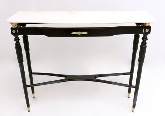 Mid-Century Wooden and Pink Marble Console Table