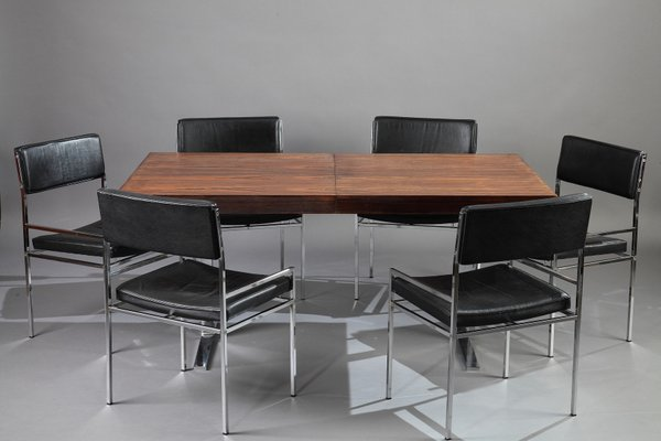 Dining Table And Six Chairs By Poul Norreklit, 1960s 1