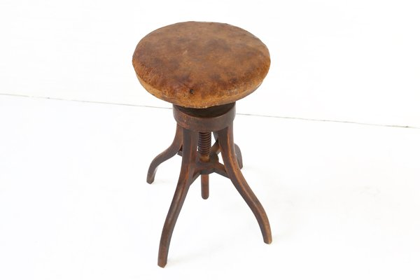 Swell Antique Danish Wood And Leather Adjustable Artists Stool Download Free Architecture Designs Lukepmadebymaigaardcom