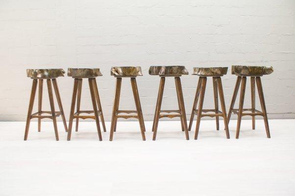 Sgabelli da bar mid century in legno francia anni 60 set di 6 in