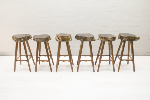 Amazing Mid Century French Wooden Bar Stools 1960S Set Of 6 Cjindustries Chair Design For Home Cjindustriesco