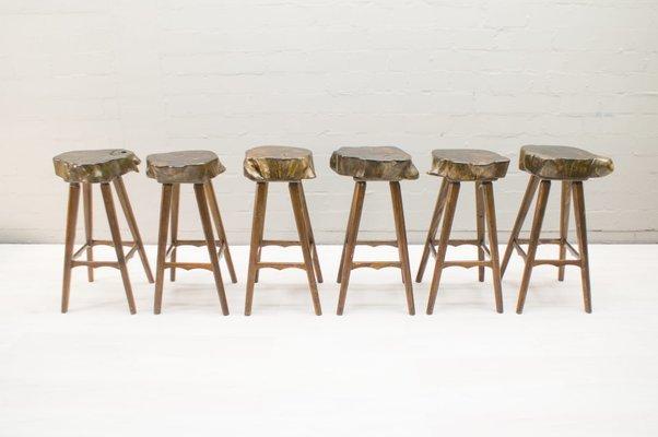Sgabelli da bar mid century in legno francia anni set di