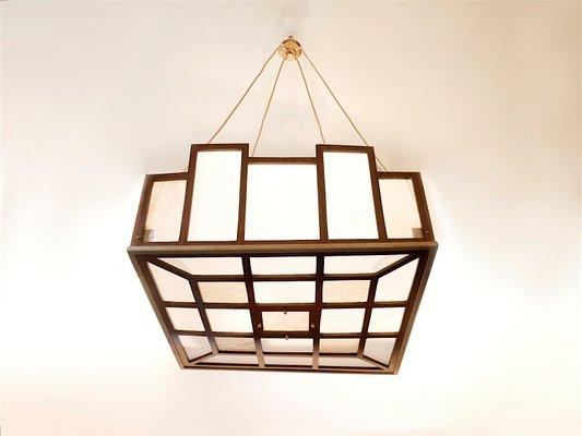 Arts Crafts Geometrical Pendant Lamp 1900s