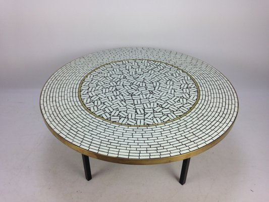 Exceptionnel Large Round Mosaic Coffee Table By Berthold Muller, 1950s