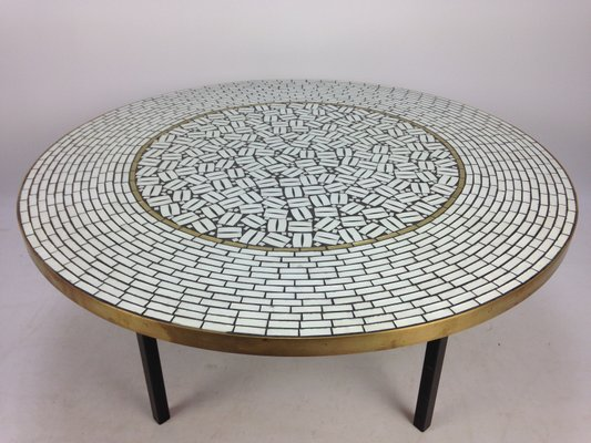 Large Round Mosaic Coffee Table By Berthold Muller 1950s For Sale