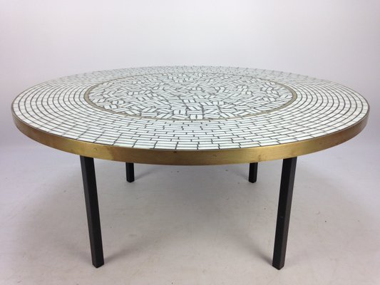 Large Round Mosaic Coffee Table By Berthold Muller, 1950s 1