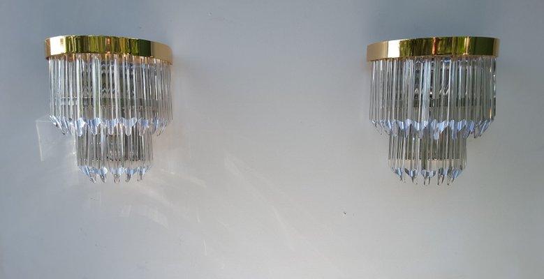 Applique vintage moderne in vetro di murano set di 2 in vendita su
