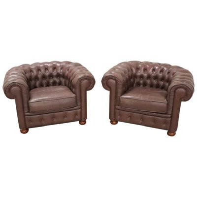 Poltrone Chesterfield Vintage.Poltrone Chesterfield Vintage In Pelle Anni 60 Set Di 2