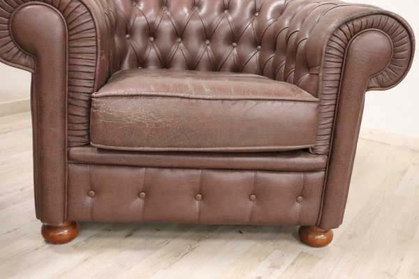 Piccole Poltrone In Pelle.Poltrone Chesterfield Vintage In Pelle Anni 60 Set Di 2