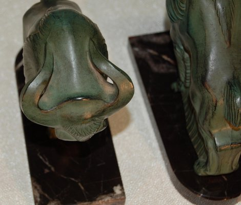 Art Deco Bison Sculptures Set Of 2 For Sale At Pamono