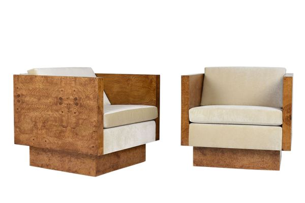 Vintage Cube Lounge Chairs By Milo Baughman For Thayer Coggin 1960s