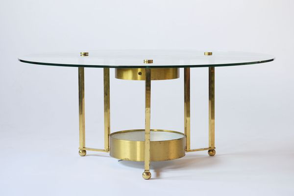 Vintage Brass And Glass Round Coffee Table 1960s For Sale At Pamono