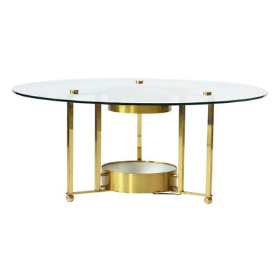 Vintage Brass And Glass Round Coffee Table 1960s