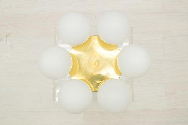 Vintage Brass Orbit Lamp with Opal Globe Shades