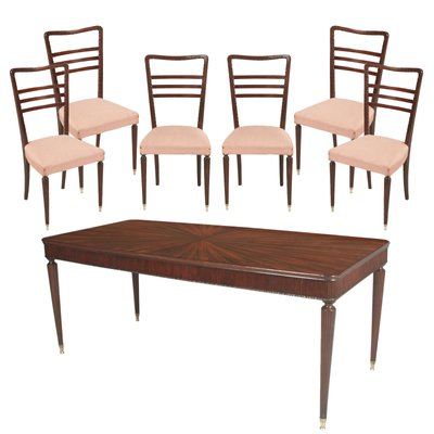 Vintage Mahogany Dining Table 6 Chairs By Paolo Buffa For La Permanente Mobili Cantù