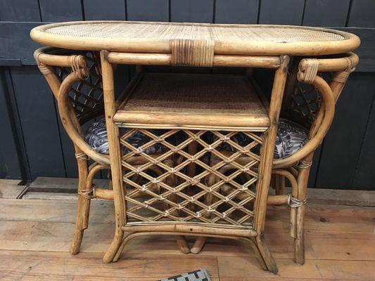 Table de Jardin & 2 Chaises en Rotin Vintage en vente sur Pamono