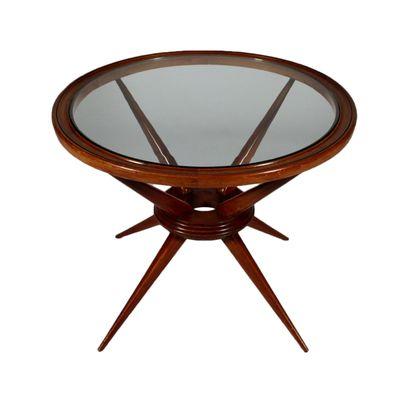 Table Basse En Verre Et Hêtre Teinté Italie 1960s En Vente Sur Pamono