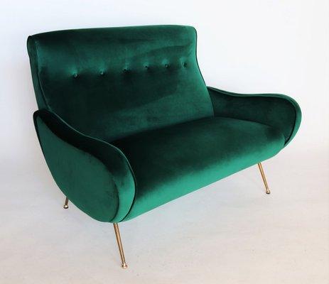 Fine Mid Century Italian Green Velvet Sofa 1950S Machost Co Dining Chair Design Ideas Machostcouk