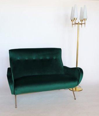 Mid-Century Italian Green Velvet Sofa, 1950s