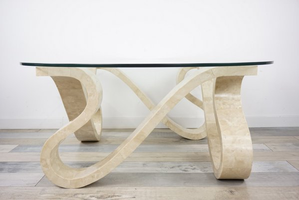 Stone Marquetry And Beveled Gl Coffee Table 1970s