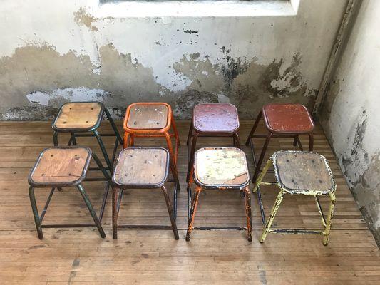 Sgabelli da scuola vintage industriali anni set di in