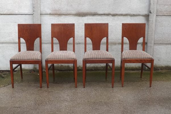 Vintage Oak Dining Chairs 1940s Set Of 4 1