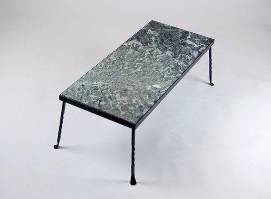 Table de Jardin Mid-Century en Fer Forgé et en Marbre, 1960s en ...