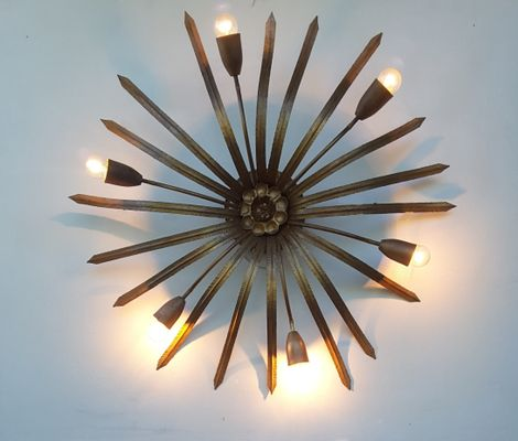 Large Spanish Gilded Metal Sunburst Flush Mount Light 1960s