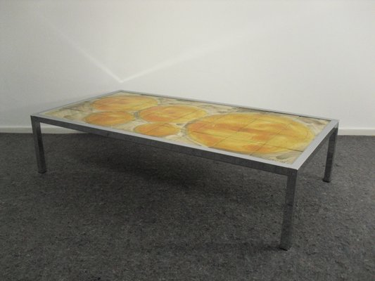 Hand Painted Ceramic Tile Top Coffee Table 1960s