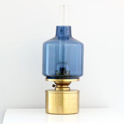 Lampada Ad Olio L47 In Ottone E Vetro Blu Di Hans Agne Jakobsson