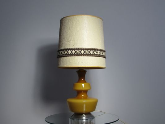 Mid Century Yellow Glass Table Lamp By Holmegaard 1960s For Sale At