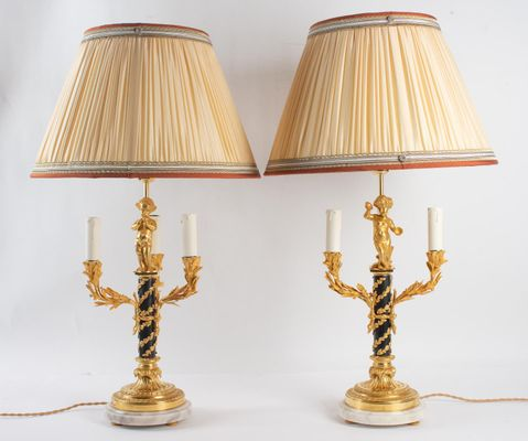 Antique Patinated Gild Bronze 3 Light Table Lamps Set Of 2 For Sale
